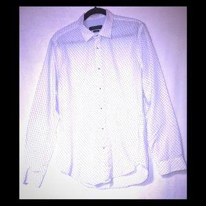 Zara Man Button Down Shirt. White/Navy Blue Size L